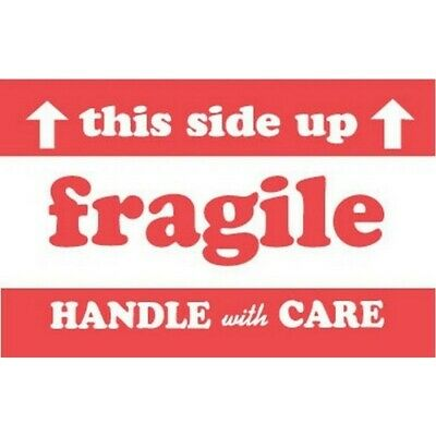 """2"""" x 3"""" Fragile This Side Up Handle With Care Labels (500 per Roll)"""