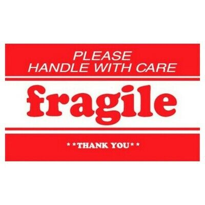 """2"""" x 3"""" Fragile Please Handle With Care Thank You Labels (500 per Roll)"""