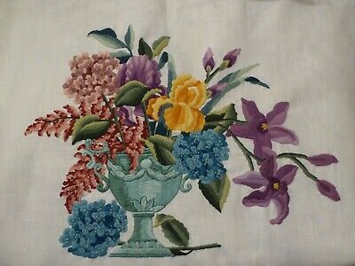 FINISHED large floral crewel by needlework artist