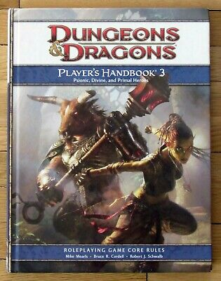 Dungeons & Dragons PLAYER'S HANDBOOK 3 Psionic Divine Primal Heroes 4th Ed VG L1