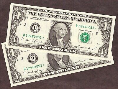 ( 2 ) 1988A $1 NEW YORK FRN *STAR* NOTES - CONSEC SN's - UNC