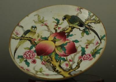 Chinese old hand-made famille rose porcelain peach bird pattern compote b02