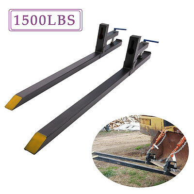 1500LBS Clamp on Pallet Forks Loader Bucket Tractor Chain