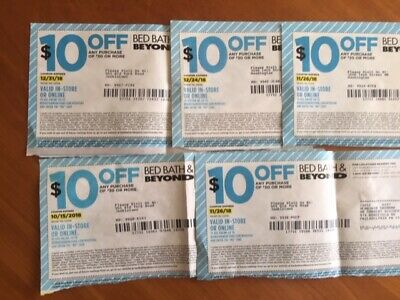 LOT OF 5 $10 off $30 BED BATH AND BEYOND COUPONS EXPIRED