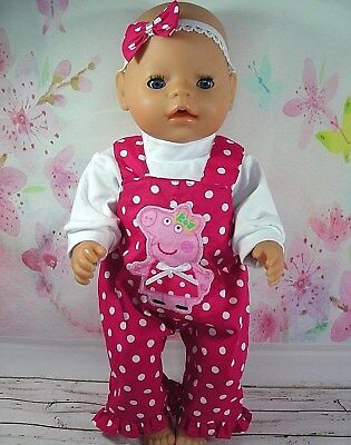 "Dolls clothes for 17"" Baby Born doll~PEPPA PIG PINK~ SPOT OVERALL~TOP~HAIR BOW"