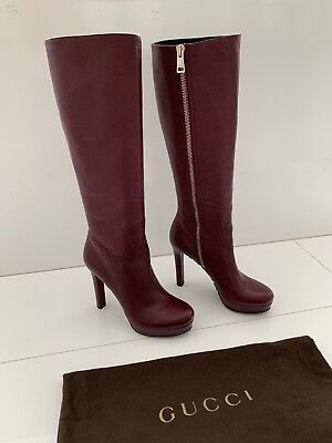 4db54d7f5 GUCCI Burgundy Textures Leather Knee High Platform Boots 39 New Without Box!