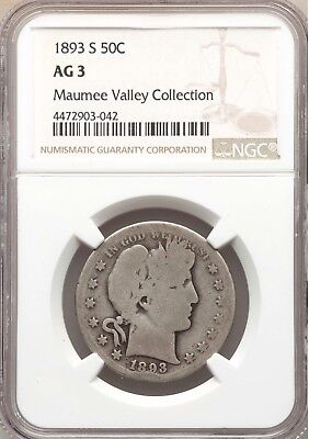 1893-S NGC AG3 Barber Silver Half Dollar Key Date About Good AG03 740k mintage