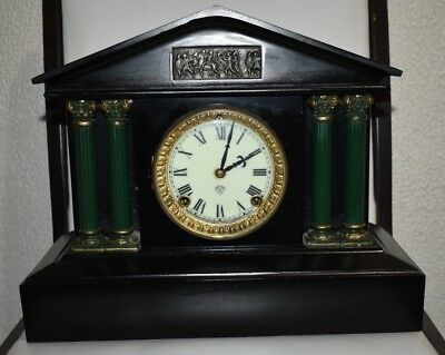 Antique Working 1882 ANSONIA Black Iron Victorian Pillar Column Mantel Clock