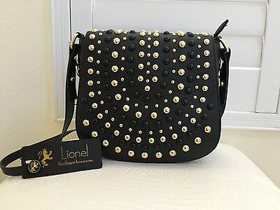 9981aa201a77 LIONEL Handbag Purse Faux Leather BLACK Gold Stud Cross Body NWT Authentic  New
