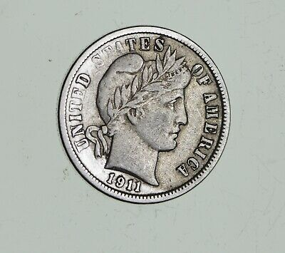 Higher Grade - 1911 Barber Liberty US Silver Dime - Great Detail in LIBERTY *642