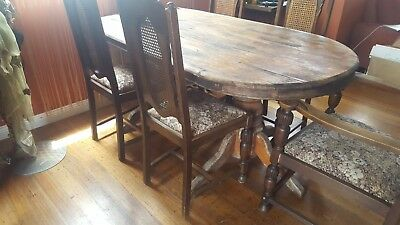 Solid Antique Rustic Table + 6 Jacobean Dining Chairs