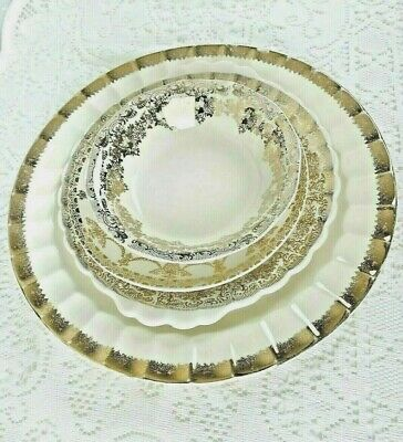 4 Piece Gold & Ivory Vintage Place Setting~1 Fruit Bowl, Plates & Small Platter