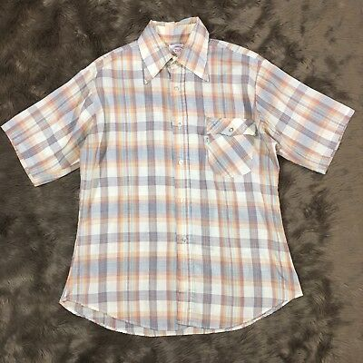 VTG 70S Levi's M L Plaid Collar Button Down Short Sleeve Shirt Medium Large Mens