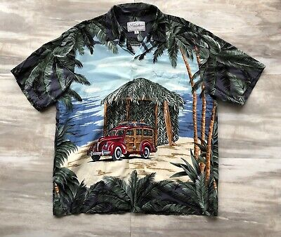817a7bb0 Kalaheo Mens Hawaiian Shirt Aloha S/S Beach Palm Tree Made In Hawaii Size  Large