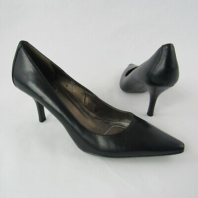 7a8373b981bd Calvin Klein Dolly Kidskin Size 8.5 M Dress Pumps Shoes Heels Black Pointed  Toe