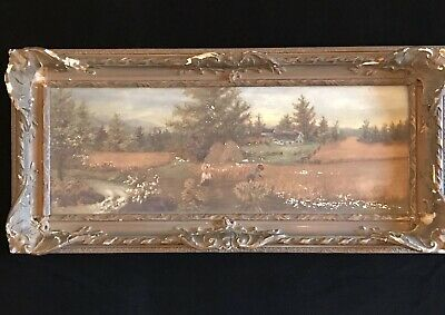 Old Framed OIL PAINTING Country Farm Landscape Ornate Gesso Wood Frame