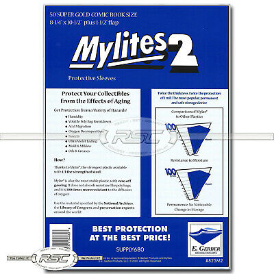 50 - Mylites 2 Super Gold 2-Mil Mylar Comic Book Bags by E. Gerber - 825M2