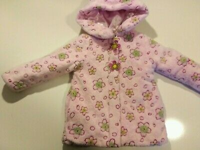 Pistachio Girls Sz 4 Pink Fluffy Floral Coat Thick lined hooded fullzip boutique