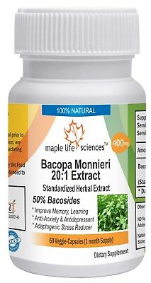 Bacopa Monnieri Extract Capsules Standardized to 50% Bacosides Improve Memory