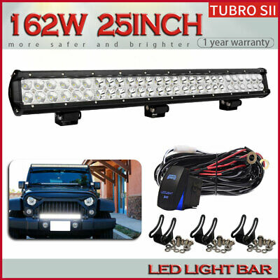 """25""""Inch 162W Led Light Bar Spot/Flood For Offroad 4WD Jeep Truck Driving Lamp 24"""
