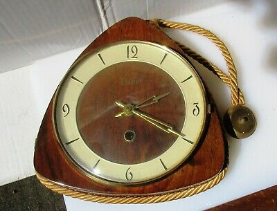 Lovely Vintage Timber Wall Clock from ELBOR with Key