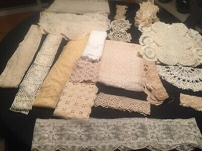 Huge Lot Of Assorted Antique Vintage Lace And Trim Doll Clothes Crafting