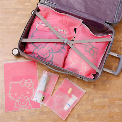 5PCS/Set Hello Kitty Travel Storage Bags Cosmetic Clothes Sealed Organizer Pouch