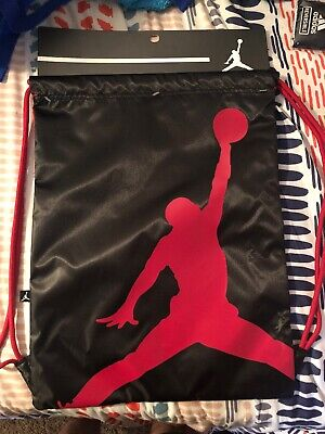 b0db84e9a07dc1 Nike Air Jordan Jumpman Drawstring Gym soccer Bag Sack Backpack Black Red  9A1940