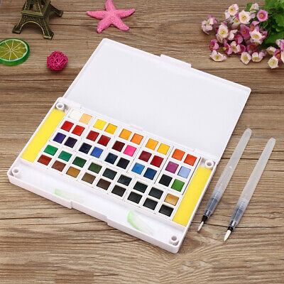 Solid Watercolor Pigment Set 12/18/24/30/36/40/48 Colors With Water Brush Sponge