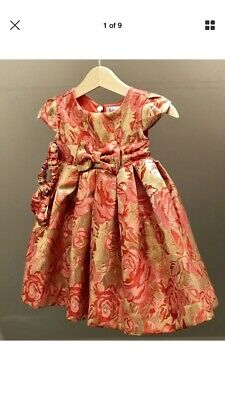 c5bd2b661 BNWT Rachel Riley baby girl dress,knickers & head band pink red & gold 6