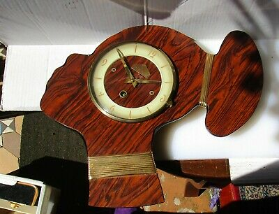 Wonderful 60's Timber Woman's Head Wall Clock from ORVAL (15 day) with Key