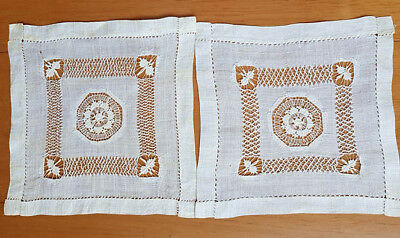 White fine linen square doilies (2), with lace and drawn thread work, vintage