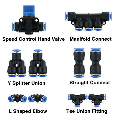 10Pc 6mm OD Push To Connect Pneumatic Fittings for Air Hose / Tubes