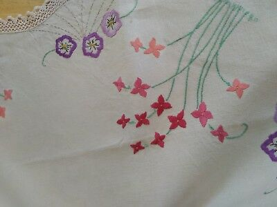 Vintage Hand Embroidered Tablecloth Cotton Lace Edging Floral Design Flowers