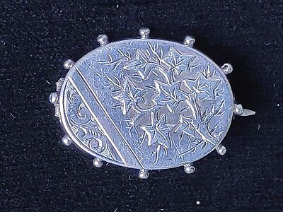 Antique Victorian Beaded Sterling Silver Ornate Brooch