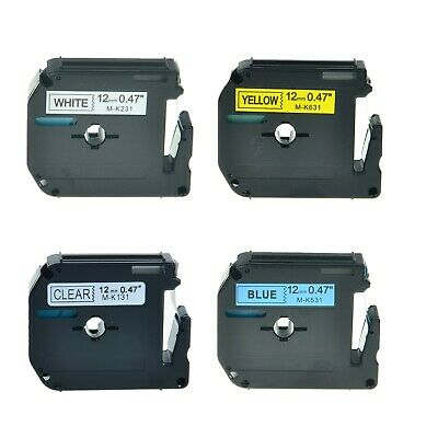 """4PK MK 131 231 531 631 Label Tape for Brother P-Touch PT-70BMH Printer 12mm 1/2"""""""
