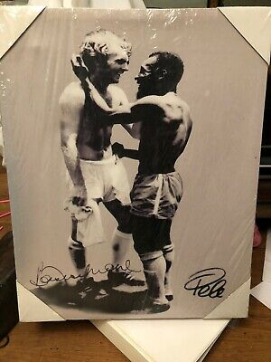 Canvas Print Of Classic Bobby Moore & Pele Photo England Brazil Football 1970