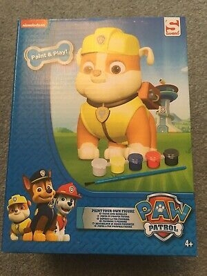 Paw Patrol Paint Your Own Figure Art Painting Craft Rubble Brush 5 Paints Toy