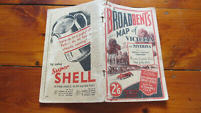 1936 Broadbent's Road And Railway Map Of Victoria Index Ref. 40th Year of Issue