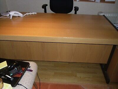 Used home office desk. Beech wood and metal frame with vanity front.