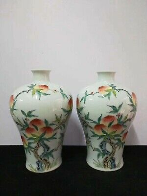 A Pair Of Fine Chinese Famille Rose Porcelain Peaches Vases Pot QianLong Marks