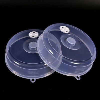Clear Microwave Plate Cover Food Dish Lid Ventilated Steam Vent Kitchen ^F