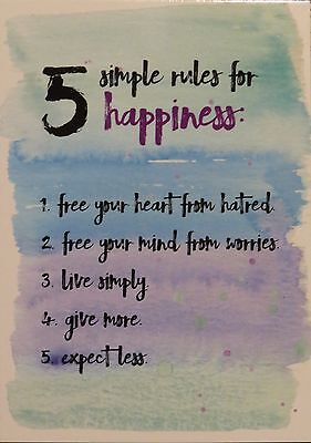 """Rules for Happiness"" Boomerang Media Card"