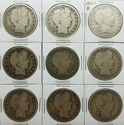 Lot Of 9 Barber Half Dollars 1902O 1906O 1907D 1908S 1915D Silver 90%