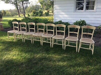 8 Antique Caned Painted Floral Dining Chairs