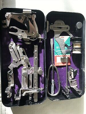 Vintage Singer Sewing Machine Black Tin With Various Accessories / Attachments