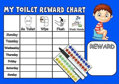 Toilet Training Reward Chart, Stickers and Pen - BOYS LOO POTTY CHART