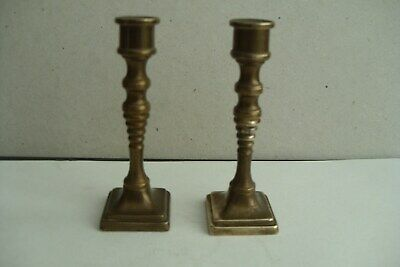 Pair of Small Antique Brass Candlesticks.