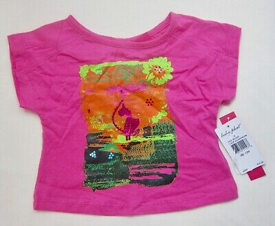 NWT Designer Baby Phat Infant Girls Hot Pink Sequin Graphic SS T-Shirt, 12M 18M