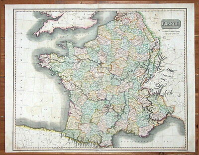FRANCE, JOHN THOMSON original antique hand coloured map 1817